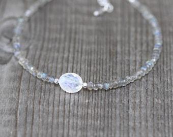Rainbow Moonstone & Labradorite Bracelet in Sterling Silver, Gold or Rose Gold Filled. Dainty Blue Flash Gemstone Beaded Stacking Bracelet