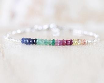 Sapphire, Ruby, Emerald, Sterling & Fine Silver Bracelet. Dainty Delicate Multi Color Gemstone Stacking Bracelet for Women. Karen Hill Tribe