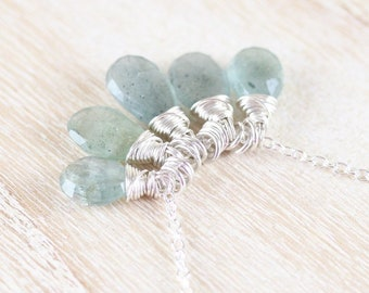 Moss Aquamarine & Sterling Silver Necklace. Aqua Blue Green Gemstone Cluster Pendant for Women. Dainty Delicate Wire Wrapped Boho Jewelry