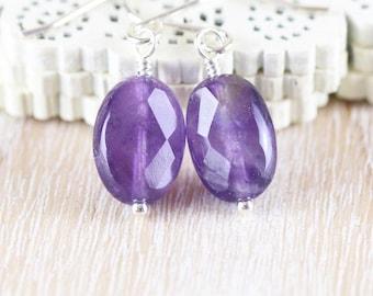 Amethyst Dainty Dangle Earrings. Sterling Silver, Rose, Gold filled. Deep Dark Purple Gemstone Faceted Oval Drop Earrings. Womans Jewellery