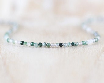 Moss Agate Delicate Beaded Necklace in Sterling Silver, Gold or Rose Gold Filled, Dainty Gemstone Choker or Long Layering Necklace for Women