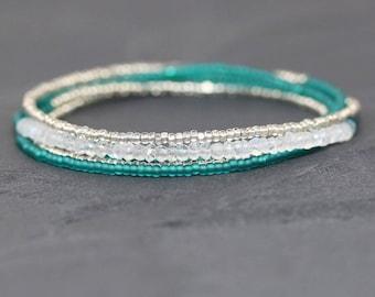 Rainbow Moonstone, Miyuki Seed Bead & Sterling Silver Long Delicate Layering Necklace, Dainty Tiny Beaded Multi Wrap Bracelet