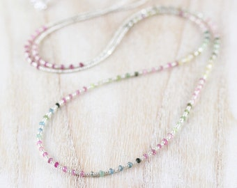 Watermelon Tourmaline, Seed Bead & Sterling Silver Long Delicate Layering Necklace, Multi Color Gemstone Dainty Beaded Wrap Bracelet