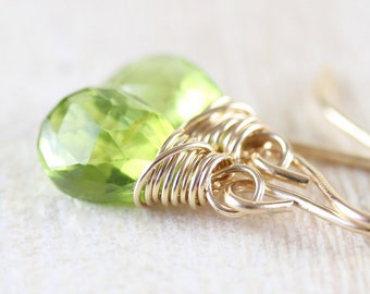 Peridot & 14Kt Gold Filled Dainty Drop Earrings. Wire Wrapped Green Gemstone Small Dangle Earrings. August Birthstone Jewelry Gift for Women