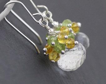 Citrine, Peridot, Rock Crystal & Sterling Silver Cluster Earrings. Multi Gemstone Drop Earrings. Dainty Dangle Earrings. Womans Jewellery