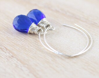 Kyanite Blue Quartz Drop Earrings. Sterling Silver, Gold or Rose Gold Filled. Long Dangle Earrings. Wire Wrapped Gemstone Jewelry for Women
