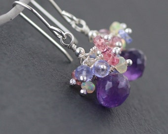 Amethyst & Sterling Silver Cluster Earrings. Ethiopian Welo Opal, Tanzanite, Pink Tourmaline, Multi Color Gemstone Drop Earrings for Women