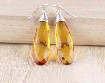Citrine Quartz & Sterling Silver Earrings. Large Yellow Gemstone Drop Earrings. Long Dangle Earrings. Wire Wrapped Artisan Jewelry for Women