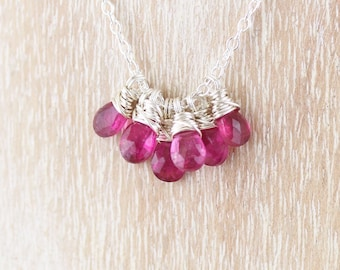 Rubellite Pink Tourmaline & Sterling Silver Necklace. Cluster Pendant. Dainty AAA Gemstone Jewelry for Women. Delicate Wire Wrapped Necklace