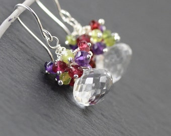 Amethyst, Garnet, Vesuvianite, Clear Quartz & Sterling Silver Cluster Earrings. Multi Color Gemstone Beaded Drop, Dangle Earrings for Women