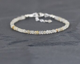 Golden Rutilated Quartz Bracelet. Sterling Silver, Rose, Gold Filled. Dainty Gemstone Stacking Bracelet for Women. Delicate Beaded Jewelry