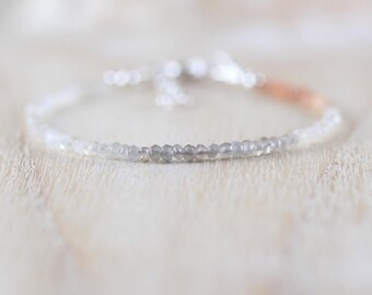 Ombre Moonstone Dainty Bracelet in Sterling Silver, Gold or Rose Gold Filled. Delicate Beaded Gemstone Skinny Stacking Bracelet for Women