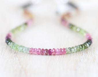 Watermelon Tourmaline Necklace in Sterling Silver, Gold or Rose Gold Filled. Dainty Multi Color Gemstone Choker. Delicate Jewelry for Women