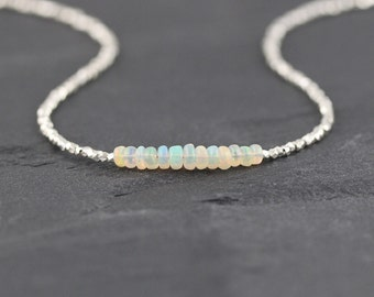 Ethiopian Welo Opal, Sterling & Fine Silver Necklace. Delicate Gemstone Choker. Dainty Beaded Layering Jewelry for Women. Karen Hill Tribe