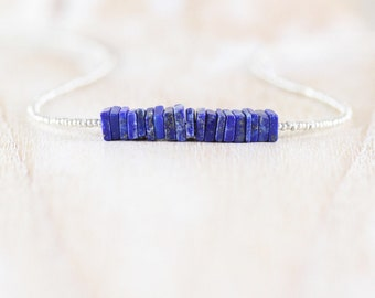 Lapis Lazuli, Seed Bead & Sterling Silver Necklace. Dainty Heishi Square Gemstone Choker. Tiny Delicate Beaded Layering Jewelry for Women