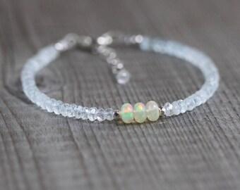 Aquamarine & Ethiopian Welo Opal Bracelet. Sterling Silver, Rose, Gold Filled. Dainty Delicate Gemstone Rondelle Stacking Bracelet for Women
