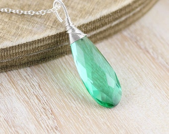 Emerald Green Quartz & Sterling Silver Pendant. Wire Wrapped Necklace Charm. Large Gemstone. Big Pendant. Womans Statement Boho Jewellery