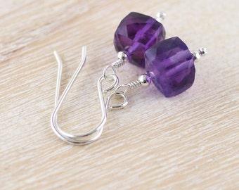 Amethyst Dainty Cube Earrings in Sterling Silver, 18Kt Gold or Rose Gold Filled. Purple AAA Gemstone Jewelry. Women's Small Dangle Earrings