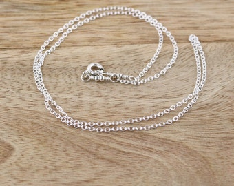 925 Sterling Silver Trace Chain. Pendant & Necklace Round Cable Chain. Oval Links. Strong Thin Delicate. 14,15,16,17,18,19,20,22,24 Inch
