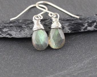 Labradorite Dainty Drop Earrings in Sterling Silver, 18Kt Gold or Rose Gold Filled. Wire Wrapped Gemstone Small Dangle Earrings for Women