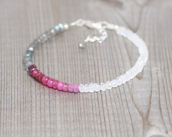 Ruby, Labradorite & Rainbow Moonstone Bracelet. Sterling Silver, Rose, Gold Filled. Dainty Delicate Ombre Gemstone Beaded Bracelet for Women