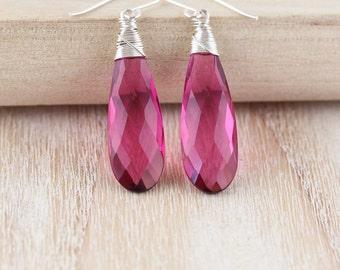 Pink Tourmaline Quartz & Sterling Silver Earrings. Large Gemstone Drop Earrings. Long Dangle Earrings. Wire Wrapped Boho Jewelry for Women