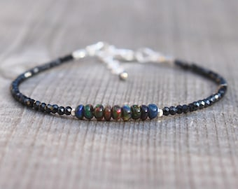 Ethiopian Black Welo Opal & Spinel Bracelet in Sterling Silver, Gold or Rose Gold Filled. Dainty Beaded Gemstone Stacking Bracelet for Women