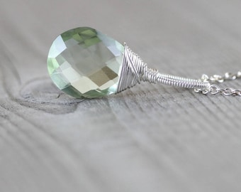 Large Prasiolite & Sterling Silver Pendant. Green Amethyst Necklace Charm. Wire Wrapped AAAA Semi Precious Gemstone Bead Jewelry for Women
