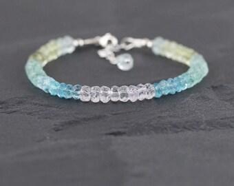 Aquamarine & Morganite Beaded Bracelet. Sterling Silver, Rose, Gold Filled. 5mm Chunky Gemstone Rondelle Stack Bracelet. Jewelry for Women