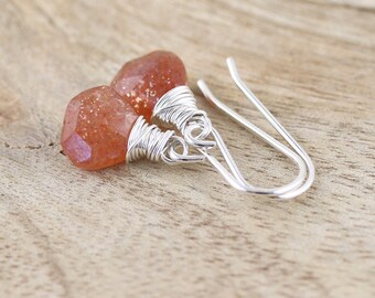 Sunstone Dainty Drop Earrings Wire Wrapped in Sterling Silver, 18Kt Gold or Rose Gold Filled. Small AAA Gemstone Dangle Earrings for Women