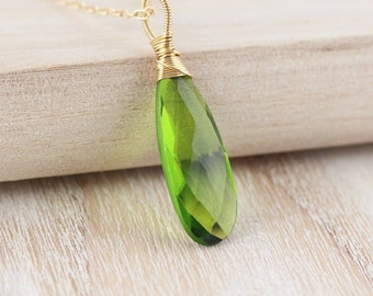 Peridot Quartz & 14Kt Gold Filled Pendant. Large Green Gemstone Necklace Charm. Wire Wrapped Statement Jewelry for Women. August Birthstone