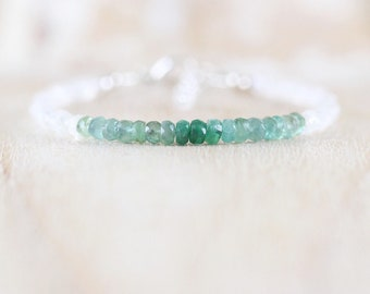 Emerald & Rainbow Moonstone Dainty Bracelet in Sterling Silver, Gold or Rose Gold Filled. Delicate Ombre Gemstone Beaded Jewelry for Women