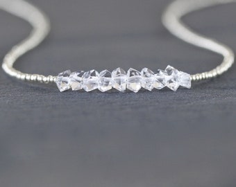 Herkimer Diamond, Seed Bead & Sterling Silver Necklace. Double Terminated Raw Clear Quartz Choker. Dainty Healing Crystal Jewelry for Women