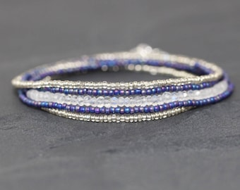 Rainbow Moonstone, Miyuki Seed Bead & Sterling Silver Necklace. Long Beaded Layering Necklace. Delicate Blue Gemstone Multi Wrap Bracelet