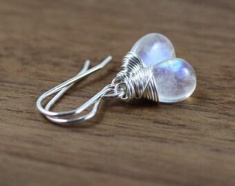 Rainbow Moonstone & Sterling Silver Drop Earrings. Blue Flash Gemstone Jewelry. Dainty Dangle Earrings for Women. Lever Back or French Hook