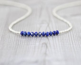 Lapis Lazuli, Seed Bead & Sterling Silver Necklace. Dainty Tiny Blue Gemstone Choker. Delicate Layering Necklace. Woman's Beaded Jewelry