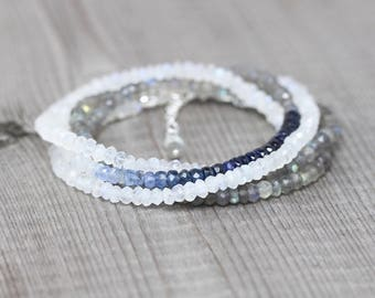 Sapphire, Labradorite & Rainbow Moonstone Wrap Bracelet. Dainty Ombre Blue Gemstone Boho Jewelry for Women. Long Delicate Layering Necklace