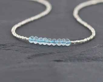 Sky Blue Topaz, Seed Bead & Sterling Silver Necklace. Dainty Tiny AAA Gemstone Choker. Simple Delicate Beaded Layering Jewelry for Women