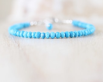 Turquoise Beaded Dainty Bracelet in Sterling Silver, Gold or Rose Gold Filled. Delicate Blue Gemstone Stack Bracelet. Boho Jewelry for Women