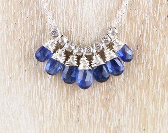 Kyanite & Sterling Silver Necklace. Dainty Blue Gemstone Cluster Pendant. Delicate Layering Necklace for Woman. Boho Bohemian Hippie Jewelry