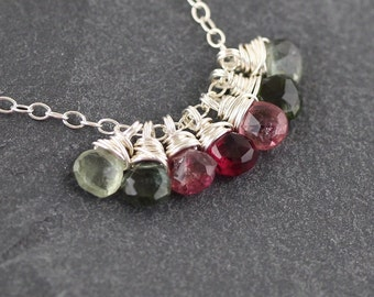 Watermelon Tourmaline Necklace. Cluster Pendant in Sterling Silver, 18Kt Gold or Rose Gold Filled. Pink and Green Gemstone Jewelry for Women