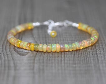 Ethiopian Welo Opal Beaded Bracelet. Sterling Silver, Rose, Gold Filled. Orange AAAA Gemstone Stacking Bracelet. Boho Jewelry Gift for Women