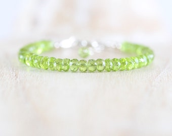 Natural Peridot Beaded Bracelet. Sterling Silver, Rose, Gold Filled. High AAAA Quality Chunky Green Gemstone Stacking Bracelet for Women