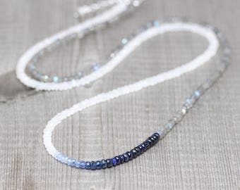 Sapphire, Rainbow Moonstone & Labradorite Necklace. Long Delicate Layering Necklace for Women. Dainty AAA Blue Flash Gemstone Boho Jewelry