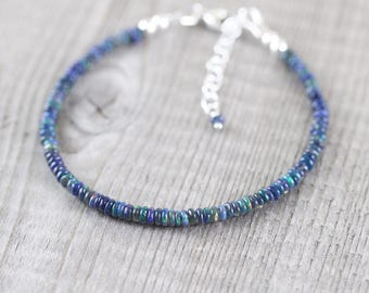 Ethiopian Blue Opal Dainty Bracelet. Sterling Silver, Rose, Gold Filled. Delicate Black Welo Opal Slim Beaded Stacking Bracelet for Women