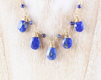 Lapis Lazuli & 14Kt Gold Filled Bib Necklace. Wire Wrapped Gemstone Statement Necklace. Handmade Artisan Jewelry for Women