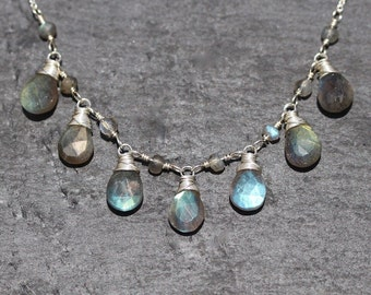 Labradorite & Sterling Silver Bib Necklace. High AAAA Quality Flashy Blue Gemstone Jewelry for Woman. Wire Wrapped Boho Layering Necklace