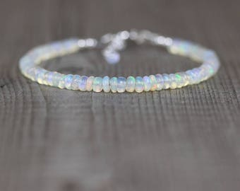 Ethiopian Welo Opal Beaded Bracelet. Sterling Silver, Rose, Gold Filled. Dainty Gemstone Stacking Bracelet. Delicate Boho Jewelry for Women