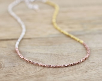 Mixed Metal Delicate Necklace. Sterling & Fine Silver, Yellow and Rose Gold Vermeil Choker. Dainty Tiny Beaded Layering Jewelry for Woman