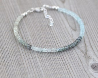 Moss Aquamarine Dainty Bracelet. Sterling Silver, Rose, Gold Filled. Tiny Beaded Gemstone Jewelry for Women. Slim Delicate Stacking Bracelet